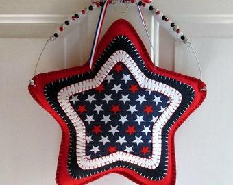 Wool Felt Patriotic Star Door Deco Hanger