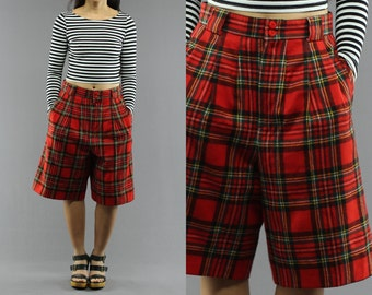 Wool High Waist Lined Tartan Plaid Paperboy Shorts By Giorgio Saint Angelo Size 10 Women's 80's Vintage