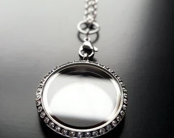 Large Silver Floating Locket-30mm-Stainless Steel-Clear Crystal Face-Option to Add Matching Chain-Gift Idea for Women