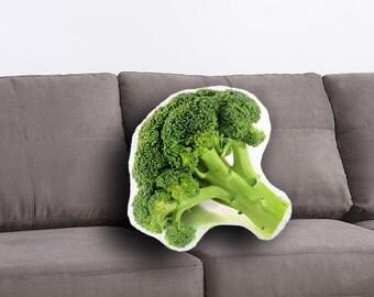 Broccoli Printed Pillow, Broccoli Lover Gift, Broccoli Print, Linen Throw pillow, Toss pillow, Decorative pillow, Food Pillow, Food