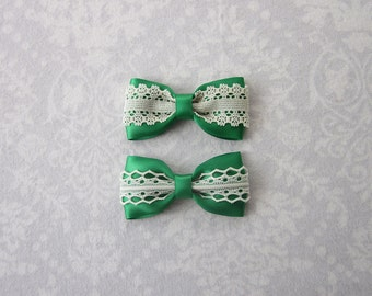 Emerald Green Satin & Off-White Ivory Lace Bow, Girls Hair Accessory, Barrette, Ponytail, Clip, Toddler, School, Photos, Pigtail Bows