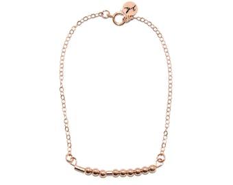 "CUSTOM // The Original ""Morse Code"" Name, Word or Initials Chain Bracelet (Rose Gold Filled) - Dainty, Minimalist, Simple, Custom Bracelet"
