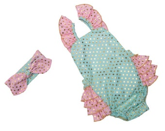 Baby girl ruffle bottom jumper, sunsuit with gold polkadots