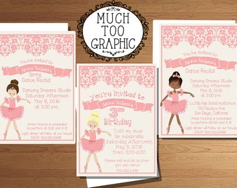 Ballet Dance Recital Invitation Ballerina Birthday Party Invitations  Pink Printable Printables Blonde African American