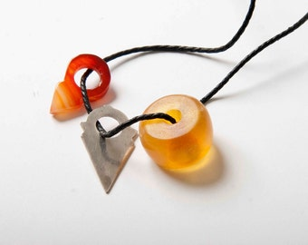 copal amber, silver and agate tanfouk strung as talisman necklace