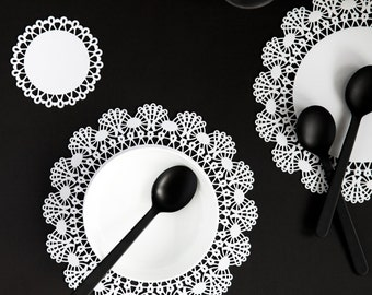Perspex paper doily placemat, paper doily, acrylic, laser cut acrylic, laser cut placemat, acrylic placemat, handmade