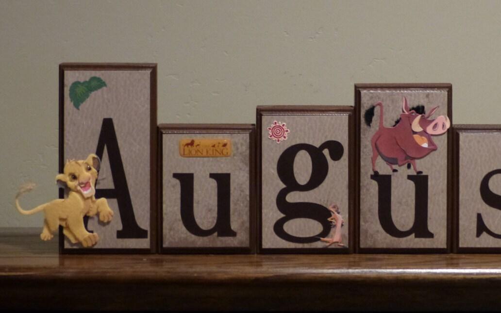 The Lion King Name Blocks Custom Wooden Block Letters Baby Nursery Decor Name Sign