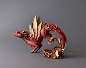 Dragon sculpture dragon figurine  fantasy creature OOAK  fairy dragon red gold dragon with butterflies fire dragon fantasy dragon limited