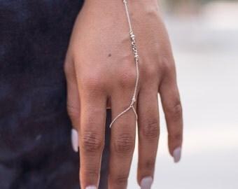 Infinity Sterling Silver Hand Chain, Finger Bracelet, Silver Slave Bracelet, Friendship Boho Bracelet, Hand Jewelry, Girlfriend Gift