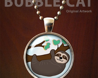 Sloth Necklace, Sloth Pendant,  Cute Sloth Cartoon Tree Sloth, hanging sloth animal jewelry original drawing vector art smiling sloth glass
