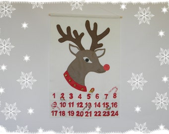 Reindeer Christmas Advent Calendar Personalized Christmas Countdown Calendar Wall Hanging  calendar Felt advent calendar