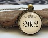 Marathon Necklace  26.2 marathon art pendant. Gift for Runner