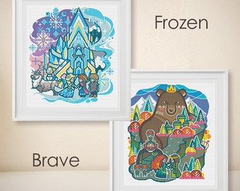 Frozen Cross Stitch + Brave Cross Stitch - Modern Cross Stitch - Disney Princess Pattern - Disney Character  - PDF - DIY - instant download