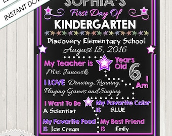 FIRST DAY of SCHOOL - Chalkboard Sign, Instant Download, Do It Yourself, Fill In, Adobe PDf File, Chalkboard School Poster, Chalked Sign,