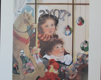 "Lithograph/Limited Edition/Artist Lynne Yancha/AWS/""If All Goes Well""/Signed/Numbered/Christmas Lithograph/Children"