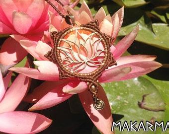 Handmade Yoga Necklace Boho Necklace Healing Lotus Necklace Modern Tribal Necklace Macrame Necklace Macrame Jewelry