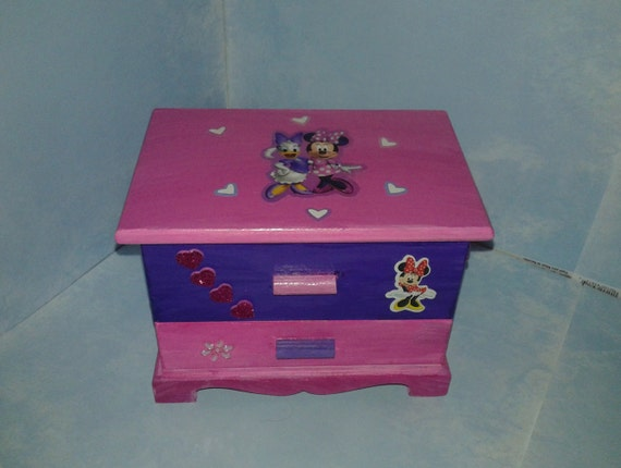 Minnie mouse jewelry box wood drawer jewelry by for Minnie mouse jewelry box