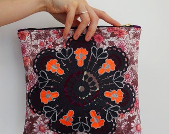Vintage floral STATEMENT CLUTCH PURSE with detachable wrist strap embellished with a black mandala print and neon orange jewels.