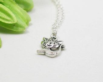 Cat Necklace - Charm Necklace - Cat Pendant - Silver Cat - Cat Charm - Dainty Cat Necklace - Tiny Cat Jewelry - Silver Kitten Necklace