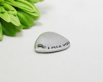 I Pick You - Personalized Guitar Pick - Wedding Gift - Handstamped Guitar Pick - Aluminum Pick - Custom Guitar Pick - Pick with Case