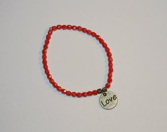 SALE NOW 15% OFF Red Antique Gold Bracelet with Charm