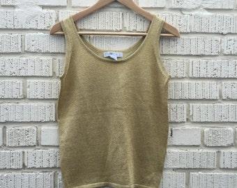 90s Gold Metallic Tank Top. 1990s Sparkle Womens Shirt. Small Medium.
