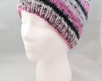 knitted womens hat, knit adult hat, knit beanie