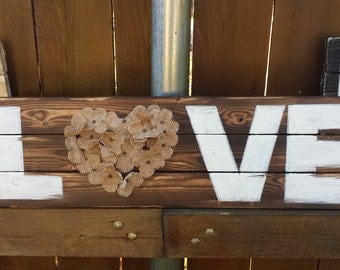 Love with flowers  sign