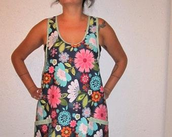 Flower Power Vintage Style Wrap-Around Tunic/Apron