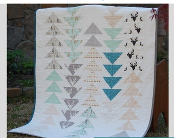 Bow and Arrow Quilt PDF Pattern in Baby, Crib, Toddler, Throw Size- Flying Geese Quilt for Beginners