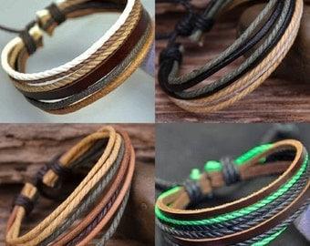 Cool Surfer Leather Bracelet Set, Gift Bracelets For Friends, Leather and Hemp Adjustable Braclets, Friendship Braclet JLA-58