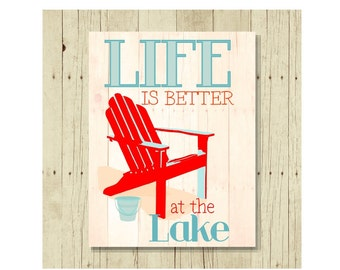 Life is Better at the Lake, Refrigerator Magnet, Fridge Magnets, Adirondack Chair, Adirondack Decor, Cute Fridge Magnet, Gifts Under 10
