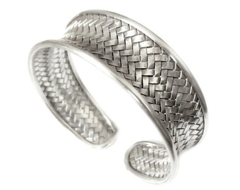 Woven Silver Cuff Bracelet,Braided Sterling Silver Cuff, Silver Bangle,Tribal Weave Silver Cuff,Silver Wristband,Boho Silver Cuff,Handmade