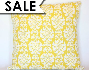 CLEARANCE: Yellow Damask Pillow Cover 20 x 20 Inch - Yellow and White