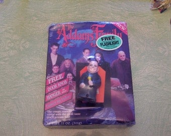 1991 Addams Family unopened cereal Uncle Fester flashlight Lurch door knob hanger