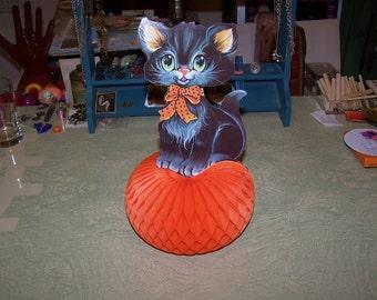 Halloween die cut black cat decoration centerpiece orange honeycomb tissue