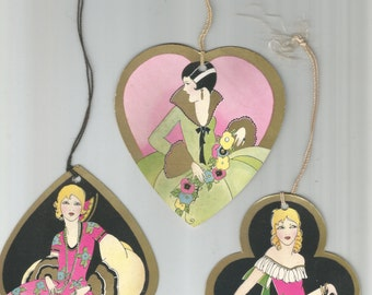 Three vintage die cut Art Deco women ladies flappers card suit heart club spade bridge tally tallies
