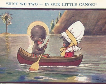 Vintage humorous black memorabilia postcard just we two in out little canoe digital download printable instant image
