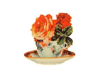 Floral Vintage Teacup Brooch