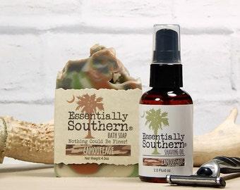 Shaving Oil & Soap Set, Beard Shaving Kit, Camouflage Gift, Husband Boyfriend Gift, Shave Oil, Pre Shave Oil, Hunter Gift, Southern Made