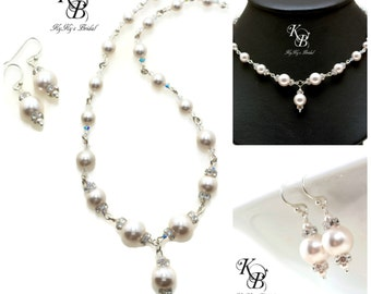 Pearl Necklace and Earring Set, Bridal Necklace and Earring Set, Swarovski Pearls, Wedding Jewelry Set, Wire Wrapped, Sterling Silver