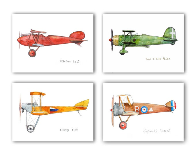 Airplane nursery print Vintage airplane Set 4 prints Boys art Airplane propeller Aviation decor Baby boy nursery wall art
