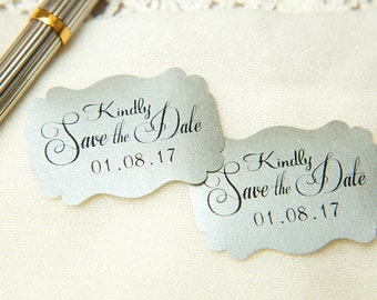 Silver Printed Save The Date seals. Custom printed Wedding stickers. personalised Pearlised Envelope seals. Silver Wedding favours