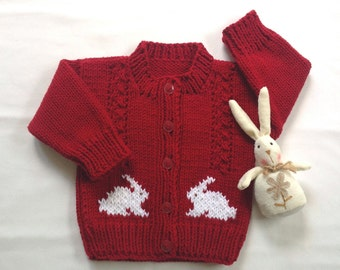 Baby red Bunny cardigan - 6 to 12 months - Baby knits - Infant red sweater - Kids bunny jumper - Bunny motifs