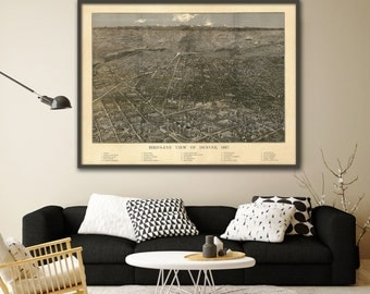 "1887 Denver panorama, Vintage Denver, Colorado map reprint - home decor  - 4 large/XL sizes up to 48"" x 36"""