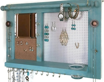 Space Saver All-in-One Jewelry Organizer - Wooden Wall Hanging Jewelry Shelf with Mirror
