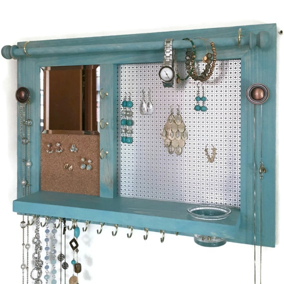 Jewelry Organizer Space Saver Wooden Wall Hanging Jewelry