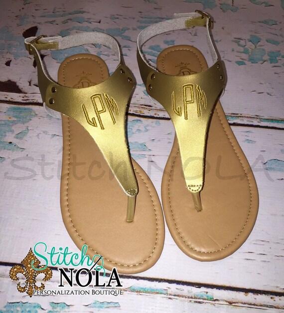 Monogrammed Gold Sandals, Monogrammed Flip Flops, Gold Sandals