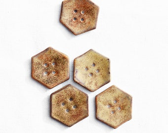 large hexagon ceramic button for sewing or knitting project ~ handmade ceramic button for bag or scarf ~ 4 hole button sienna brown