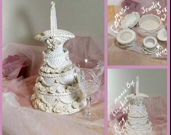"Gift for Bride Keepsake Box Music Box Trinket Box Wedding Decor Memorabilia Wedding Cake Shaped 12"" Wedding Display or Prop"